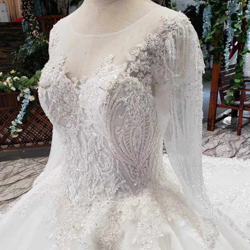 LS53710G luxury wedding dresses long sleeve o neck open back ball gown bridal dress up gowns 2019 promotion vestido de noiva