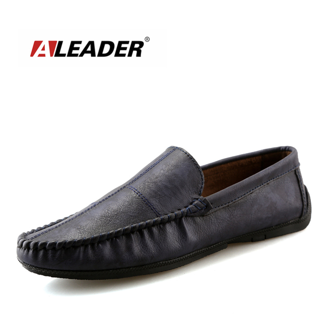 Mens Cow Leather Buckle Moccasin Comfort Slip-On Black Driving Shoes Loafers