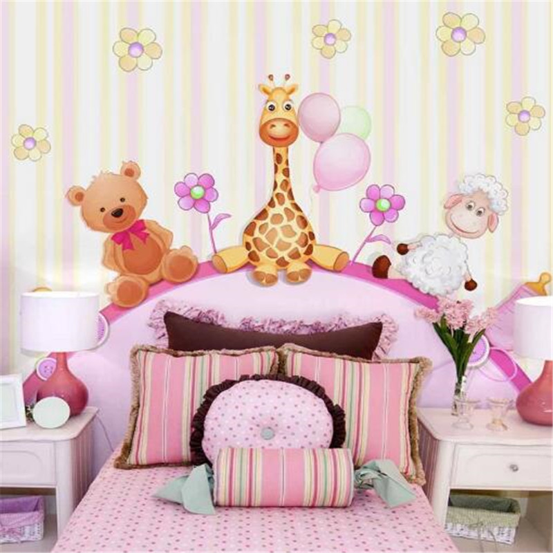 Cartoon Photo Wallpapers for Walls 3D Murals Animals Wallpapers PInk Giraffe Wall Papers Home Decor Living Room Childern Murals custom large 3d wallpapers cartoon dog cat animals murals kids walls papers for children room living room home decor painting