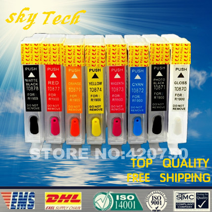 Empty Refillable Ink Cartridge suit for Epson Stylus R1900 , suit for cartridge T0870 to T0874 T0877 to T0879 ,with ARC chips ciss suit for epson stylus photo r1900 suit for t0870 t0871 t0879 series fulll dye ink ciss with arc chips