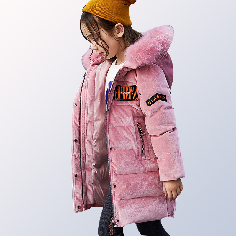 girls Winter Jacket Duck Down Jacket Kids Thick Warm Winter Jackets with Fur Coats Teenage girls Clothing 6 8 10 12 14 Year