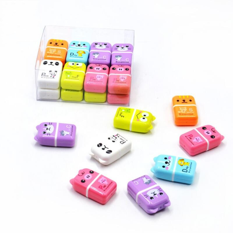 3 Pcs/lot Creative Roller Eraser Cute Cartoon Erasers Children School Stationery Supplies Student Gift