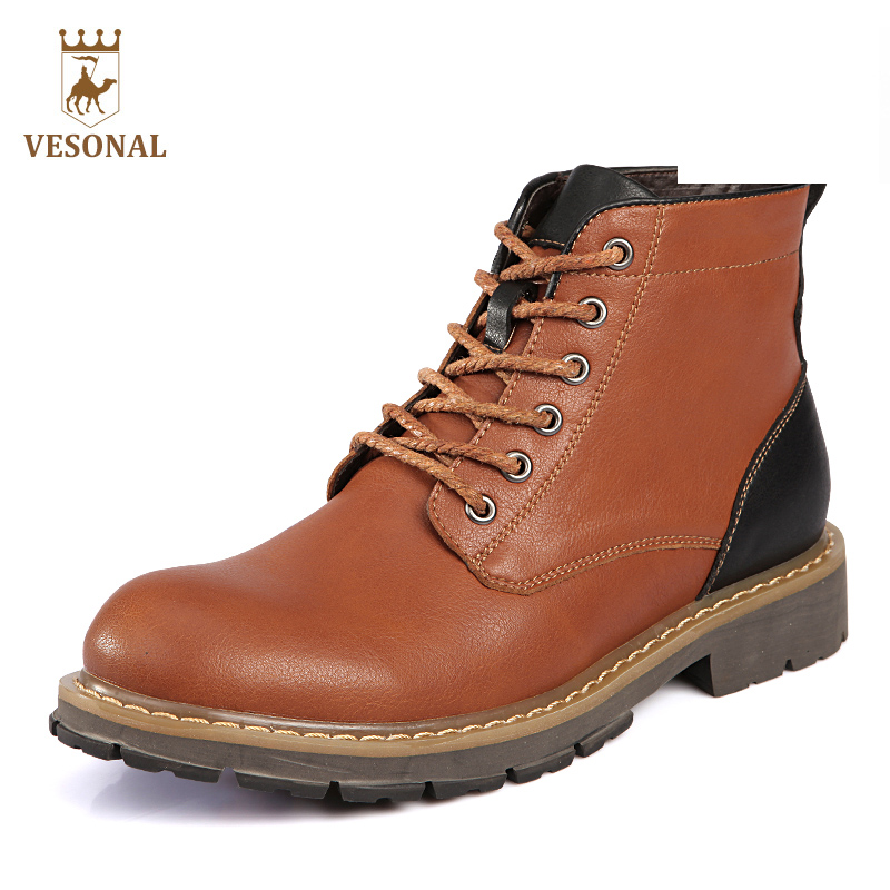 VESONAL 2017 Brand Autumn Winter Casual Work Ankle Martin Botas Male Shoes Men Boots Genuine Leather Safety Rubber Quality Man free shipping autumn winter genuine leather men s work ankle boots martin boots british style western cowboy boots for men botas