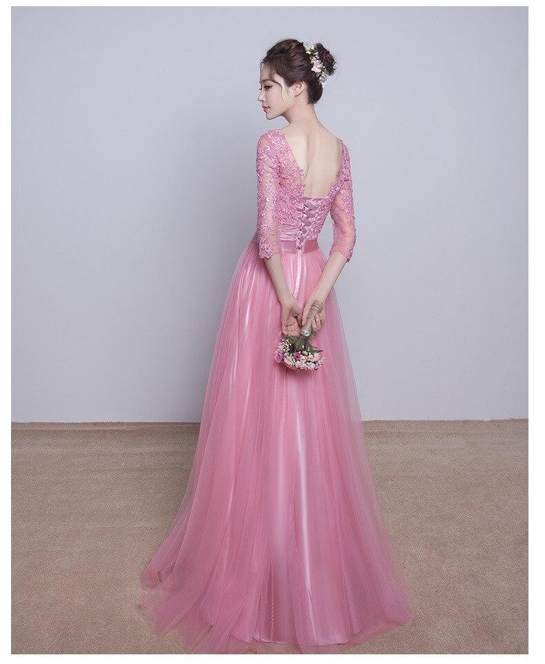 Nuevo 2017 Real Blushing Pink Modestos Vestidos de Dama de Largo Con ...