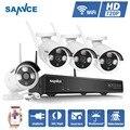 SANNCE CCTV 4CH NVR Kit de vigilância de vídeo de visão noturna sem fio wi-fi ip camera system 4ch NVR gravador de 720 p Matriz kit
