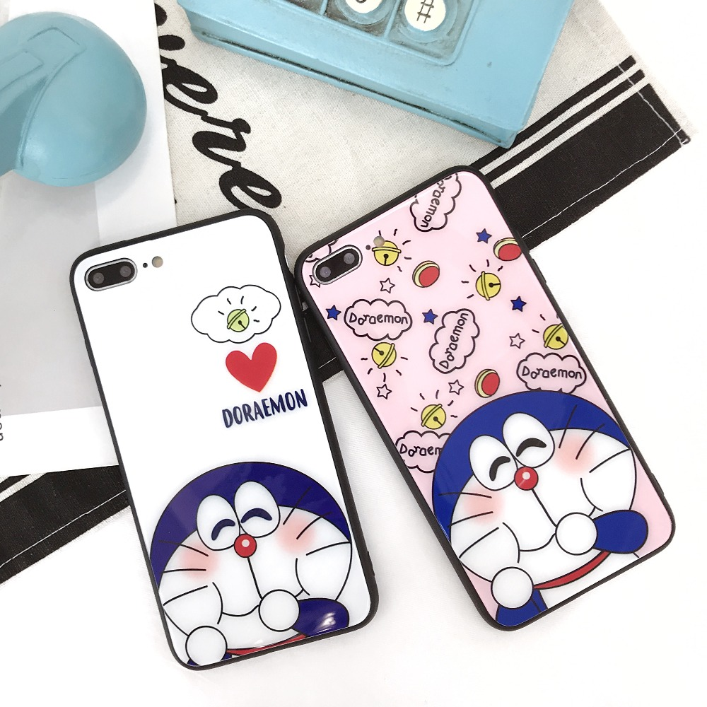 Cute Cartoon Doraemon Tempered Glass Case Tempered Glass Screen Film For iPhone X 6 6s Plus