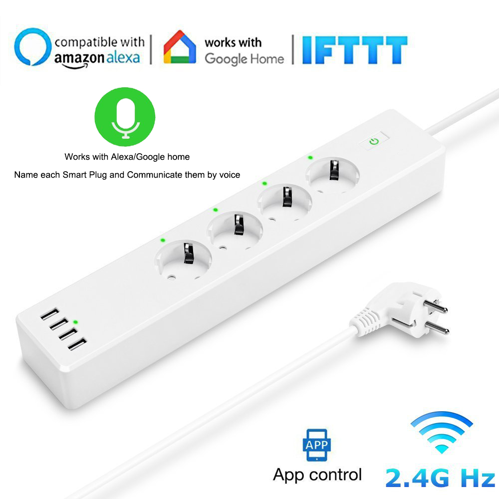 Wifi Smart Power Strip socket Protector with 4 USB Ports and 4 AC EU Plug outlet Voice Controlled for alexa Echo and Google Home колонка rcf ayra 5