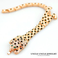 Beautiful Rose Gold Color Austrian Rhinestones Leopard Spotted Design Luxury Lady Bracelet Bangle Wholesale