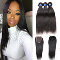 8a grade brazilian Hair 3bundles With Closure straight Virgin Human Hair with closure Brazilian Virgin Hair with closure 4pcs