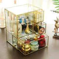 Spogliatoio tavolo di vetro scatola di immagazzinaggio cosmetici polvere rossetto cura della pelle scatola di finitura del desktop trasparente scatola di immagazzinaggio quadrata