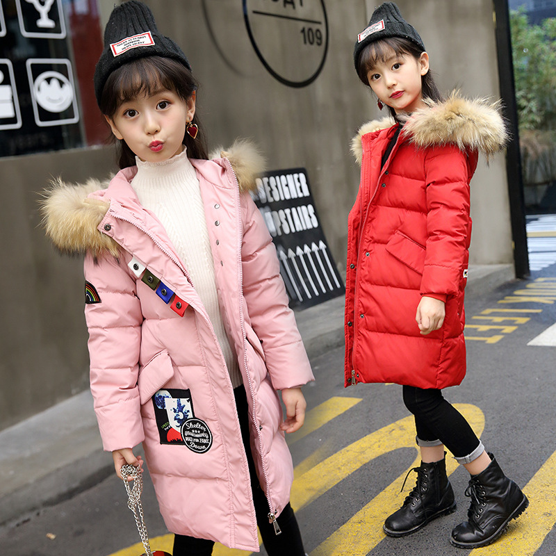 Winter Jackets For Girls Hooded Girls Down Coat Print Warm Thick Kids Outerwear Autumn Teenage Girls Clothing For 4-12 Years olekid 2017 new cartoon rabbit winter girls parka thick warm hooded children outerwear 5 14 years teenage girls sweater coat