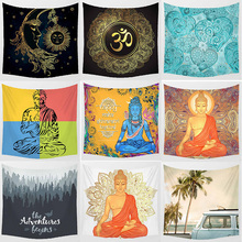 Hot sale square shape creative god and vacation  pattern wall hanging tapestry home decoration 150*150cm