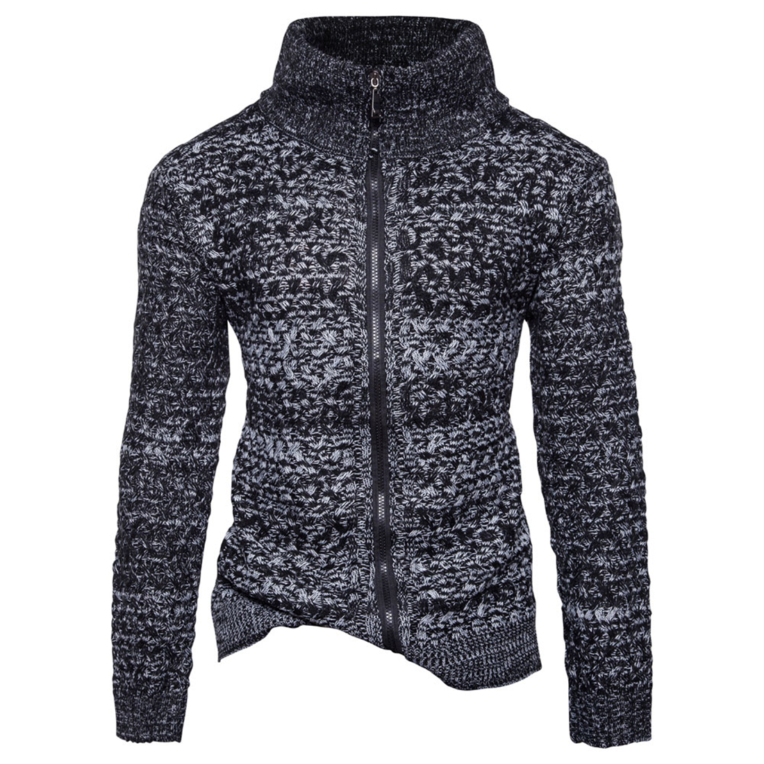 Brand Mens Sweater Zip Up Cardigan Turtleneck Knitted Winter Warm Solid Long Slim Fit Knit Sweater Jacket Coat Sweatercoat Thick