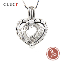 цена на Best Mother's Day gift, 925 sterling silver locket necklace Heart shape cage pendant 3pcs