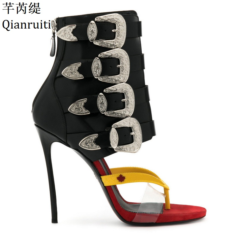 Qianruiti Rome Style Buckle Strap Women High Heels Sandals Summer Open Toe Women Gladiator Shoes Sexy Thin Heels Women Pumps