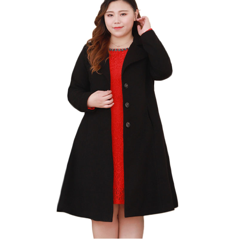 Nouvelle veste en laine mélangée femmes manteau de laine Plaid Oversize femmes d'âge moyen de haute qualité grande taille décontracté manteau de laine 4XL A1094