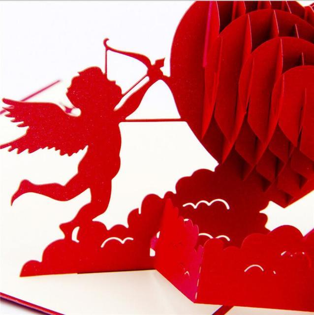 Amor Herz 3D Kreative Dreidimensionale Liebe Grußkarten Valentinstag  Umschlag Postkarten Handgemachten Karten Geburtstag