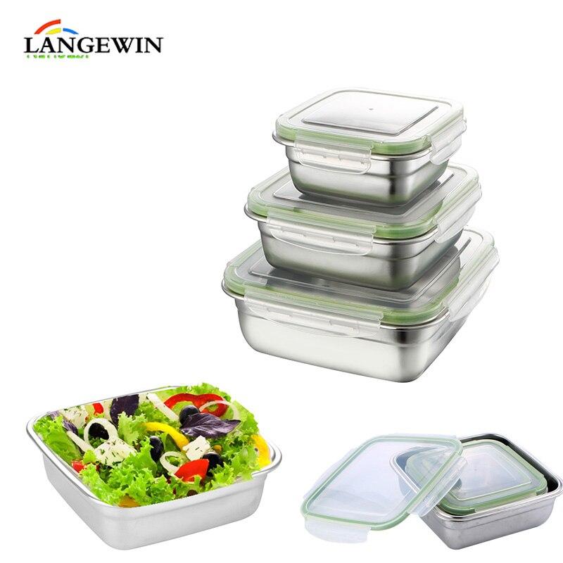 Eco-friendsy In Acciaio Inox Lunch Box BPA Libero Tenuta Cibo Container Bento Box di Immagazzinaggio di Campeggio Posate Picnic Tavola
