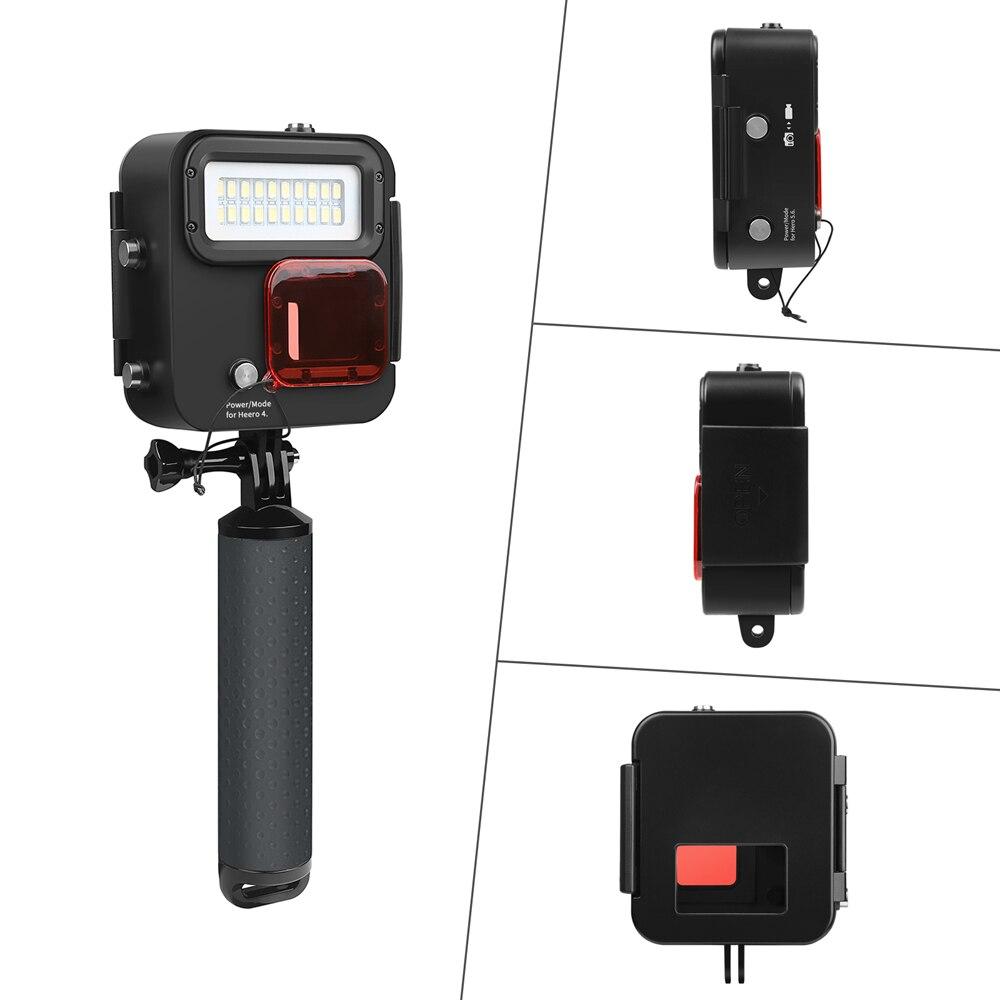 SHOOT 1000LM buceo luz LED funda impermeable para GoPro Hero 7 6 5 negro 4 3 + Cámara de Acción plateada con accesorio para Go Pro 7 6 - 4