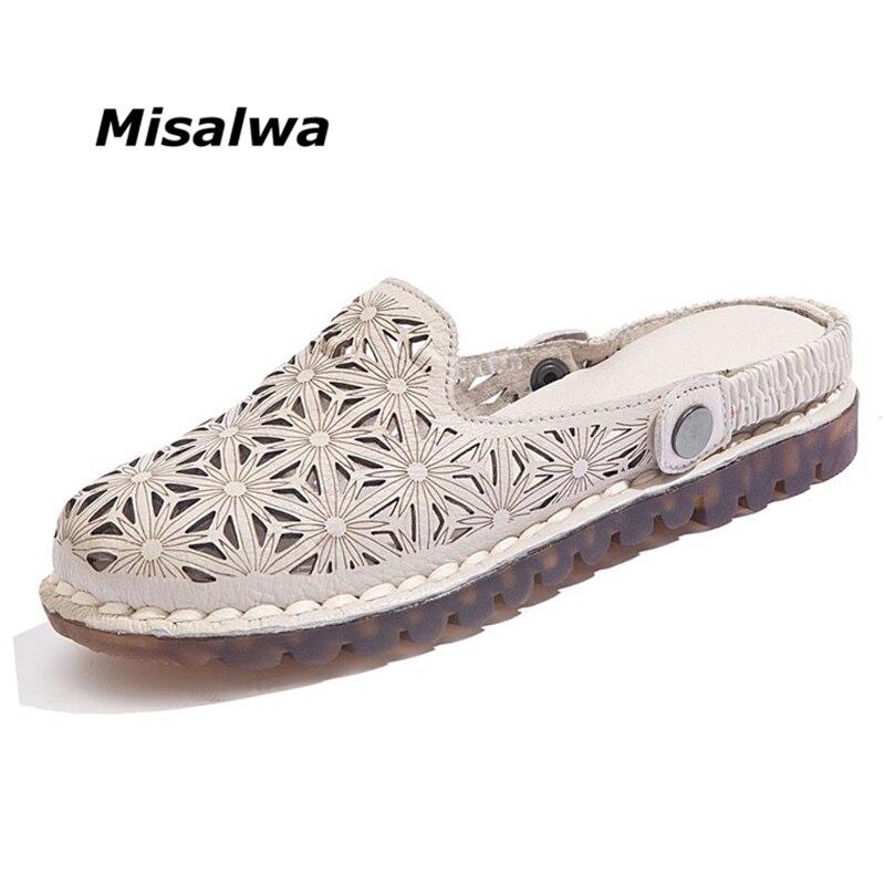 Misalwa Appartements de Femmes Chaussures En Cuir Véritable Chaussures Femmes 2018 Printemps Été Solide Cut Out Creux Casual Chaussures