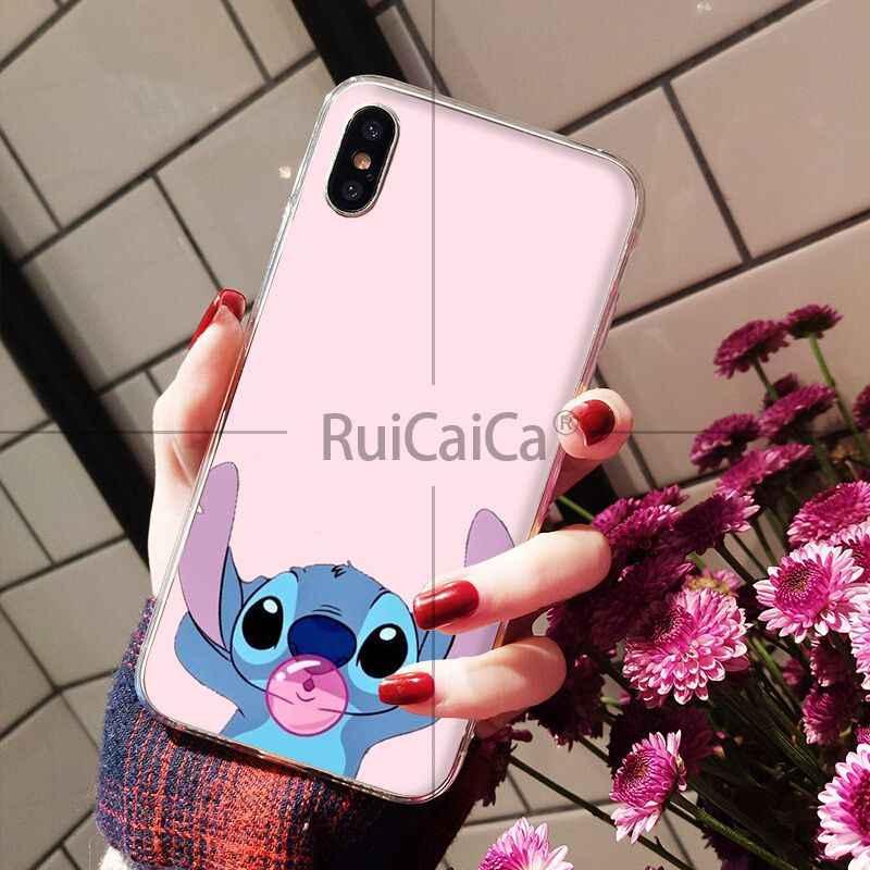Ruicaica cartoon Stitch przejrzyste miękkiego silikonu telefon pokrywa dla Apple iPhone 8 7 6 6 S Plus X XS MAX 5 5S SE XR komórkowy przypadkach