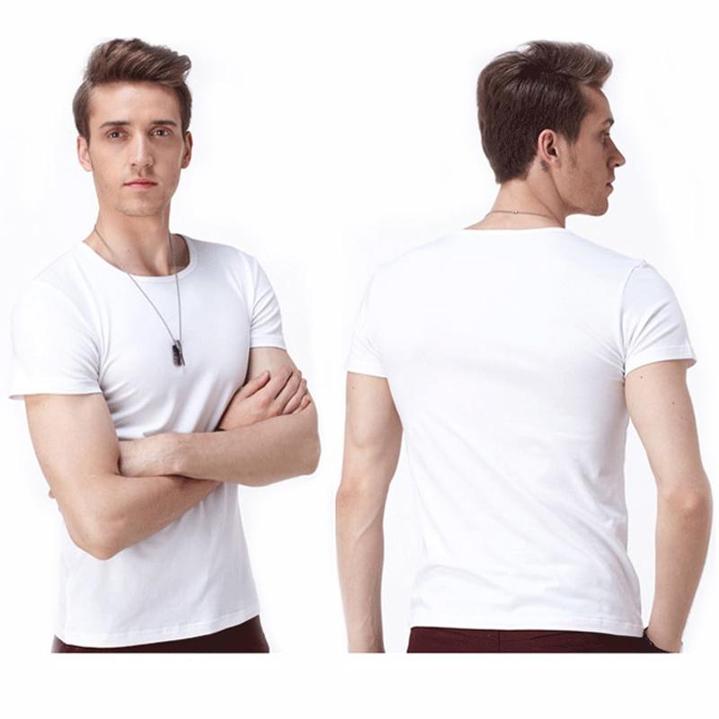 Günstige Herren Weiß Causal Base T-Shirt Kurzarm Weiß Kein Druck - Herrenbekleidung - Foto 1