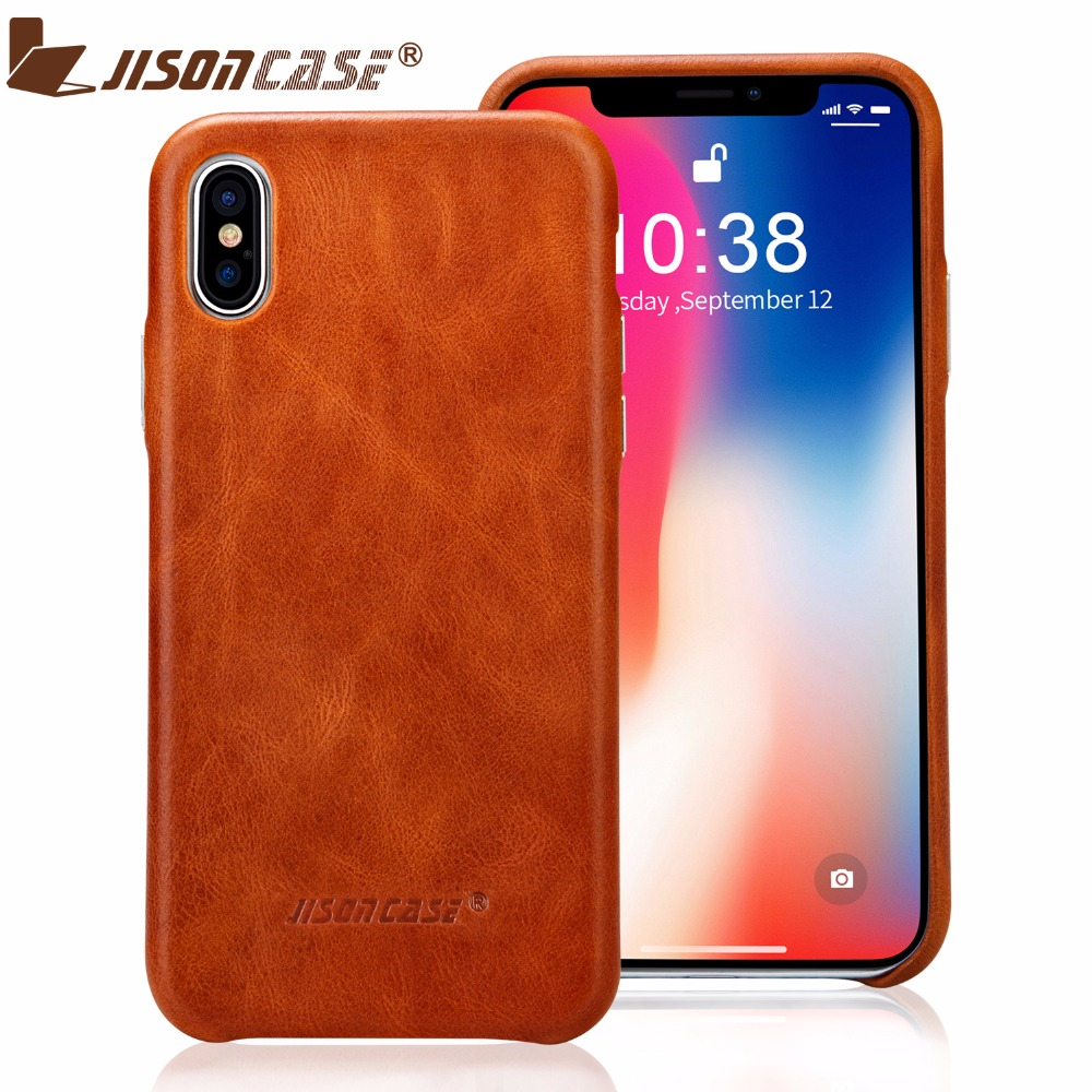 Jisoncase Genuine Leather <font><b>Phone</b></font> <font><b>Case</b></font> for iPhone X <font><b>Luxury</b></font> <font><b>Brand</b></font> Original Anti-knock Ultra-thin Back Cover 5.8&#8243; Fitted <font><b>Cases</b></font>