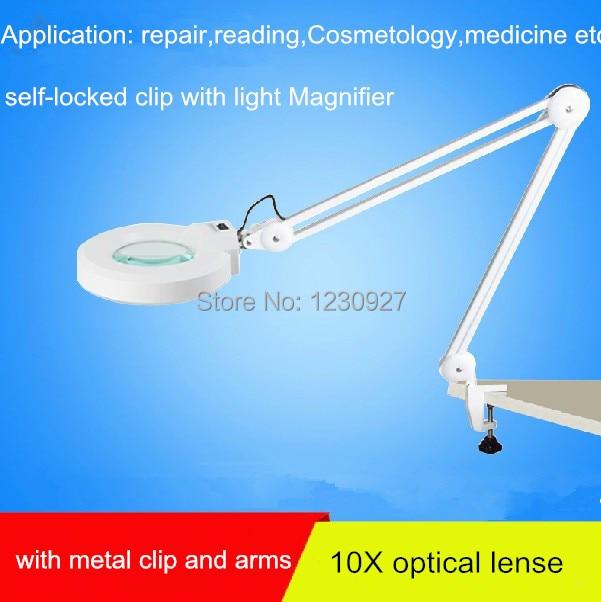 2015 New self-locked Clip magnifier led desk lamp desktop magnifier with 15w led light magnifier with 10X white optical lense лупа 15 x magnifier