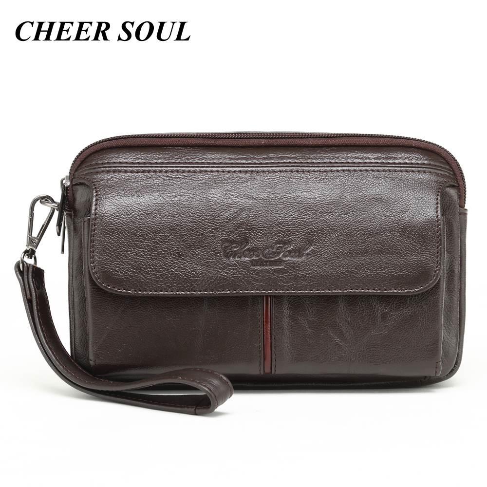 Men's Clutch Bags for men Genuine Leather Hand Bag Male Long Money Wallets Mobile Phone Pouch Women Party Clutch Coin Purse 2018