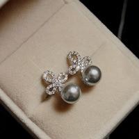 Moda Retro Cristalli Cubic Zirconia pietra Completa cluster di trifoglio Nero Orecchini di Perle Per Le Donne Del Partito Dei Monili S925 Silver Pin