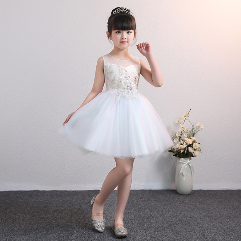 It's YiiYa Flower Girl Dresses For Wedding Lace Embroid Beeding Tulle Ball Gown Kid Party Communion Dress O-Neck 2019 BX2811