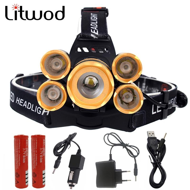 Litwod Z30 5 LED Headlamp XM-L T6 Headlight 15000 lumens LED Headlamp Camp Hike Emergency Light Fishing hunting Outdoor
