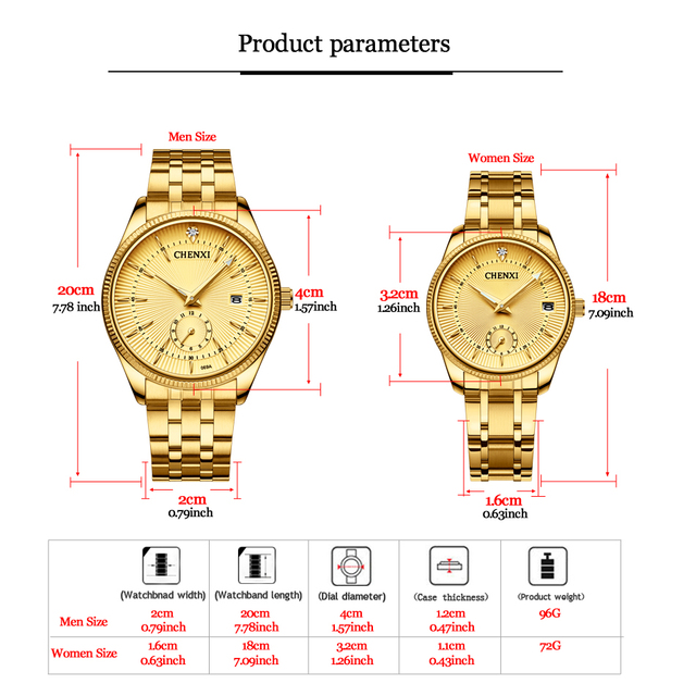 CHENXI Gold Wrist Watch Men Watches Lady Top Brand Luxury Quartz Wristwatch For Lover's Fashion Dress Clock Relogio Masculino 3