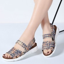 New Women Flat Shoes Woven Wedge Slingback Summer Beach Ladies Fashion Sandals Dropshipping