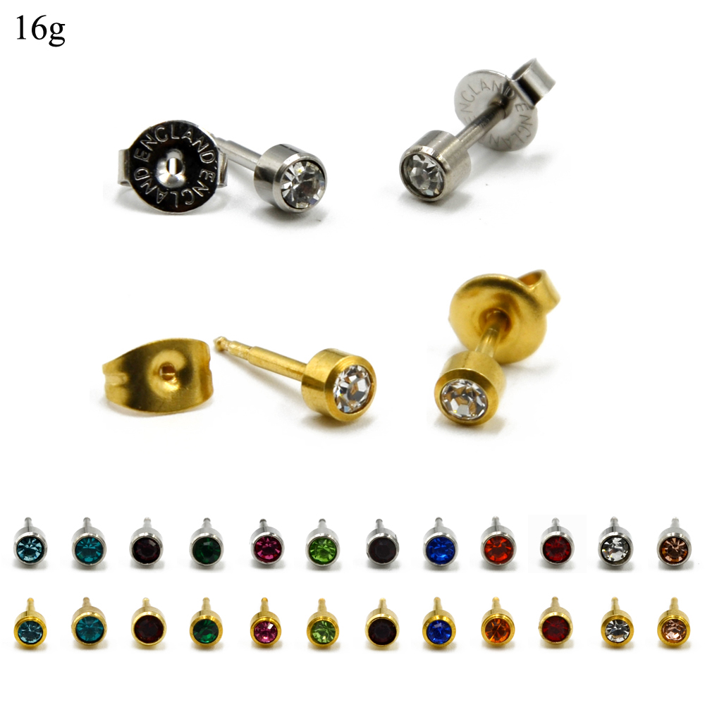 PAIR 16g 24K Gold Plating&Silver Mix Birthstone CZ Gem Ear Stud Helix Tragus Cartilage Earring Piercing Unit Body Jewelry