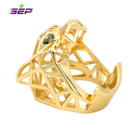 2016 New Gold Plated Green Eyes Leopard Panther Cocktail Ring For Men Women Crystals Jewelry Accessories