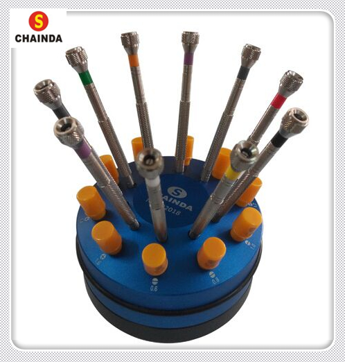 Free Shipping 10pcs Full Metal Stainless Steel Watch Screwdriver Set with Metal Rotation Stand цены