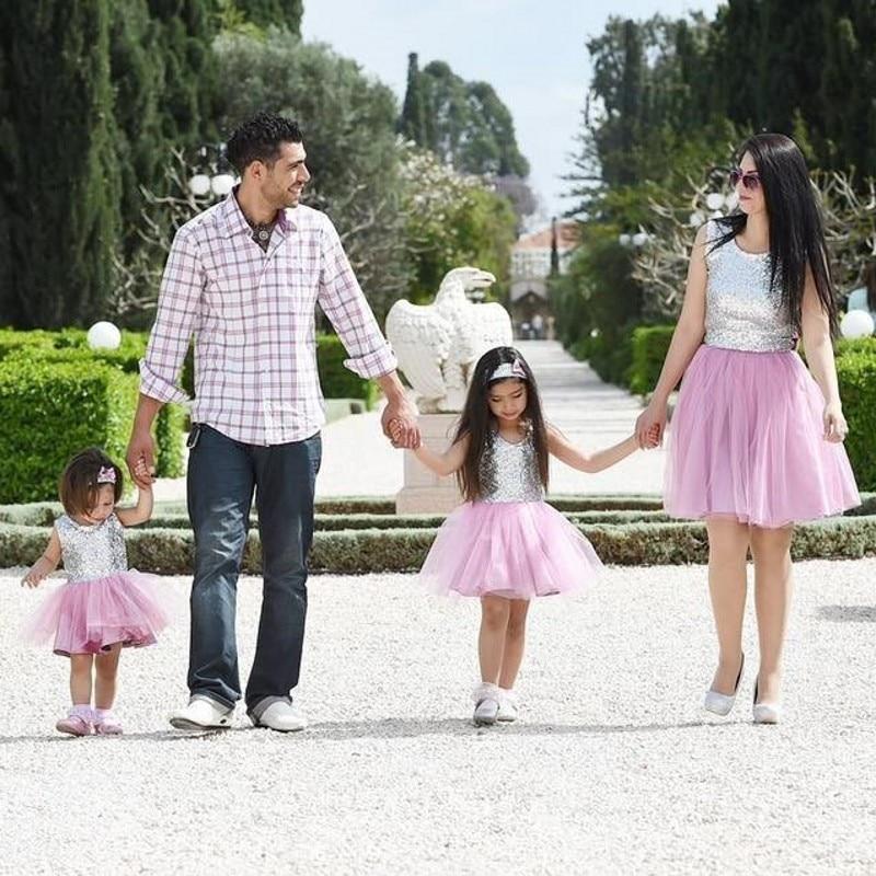 Precioso 2016 Pink Corto Equipada Vestido de Fiesta Barato de Plata de Lentejuelas Madre E Hija