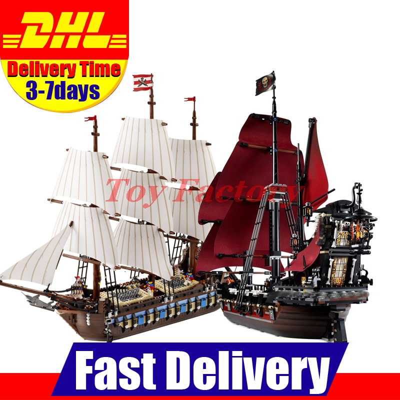 DHL LEPIN 22001 Imperial Warships + 16009 Queen Anne's Revenge Model Building Blocks For children Pirates Toys Clone 10210 4195 lepin 22001 pirates series the imperial war ship model building kits blocks bricks toys gifts for kids 1717pcs compatible 10210
