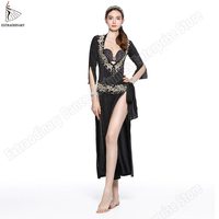 Women Egypt Belly Dance Oriental Robe Costume Sexy Sequin Professional 5pcs Set Head Wear+Robe+Bra+Belt+Leggings Pants
