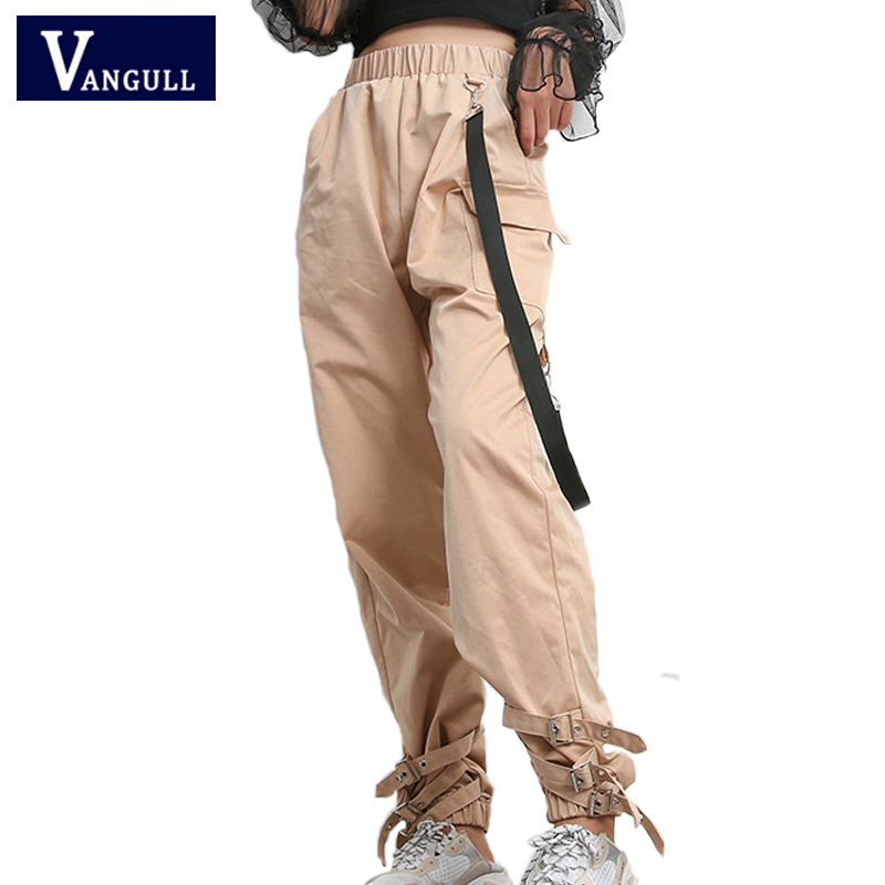 Vangull 2019 Spring Casual New Women Streetwear Cargo   Pants     Capris   Women Elastic High Waist Joggers Buckle Hip Hop Long Trousesr