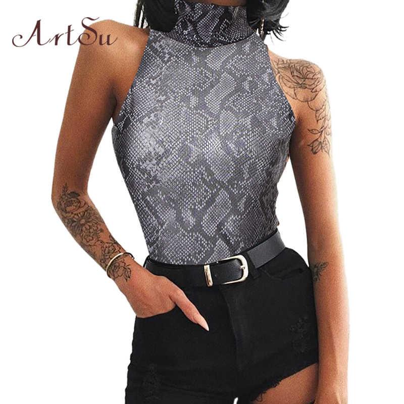 ArtSu Kadınlar Seksi Bodysuit Leopar Yılan Streetwear Balıkçı Yaka Kolsuz Bodycon Kadın Catsuit Vücut Romper Bodysuits ASJU41029