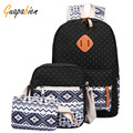 Guapabien 3pc Women Printing Canvas Backpack Set Cut Dot Print Ethnic Girl Teenager School Travel Bookbag Laptop Rucksack Female
