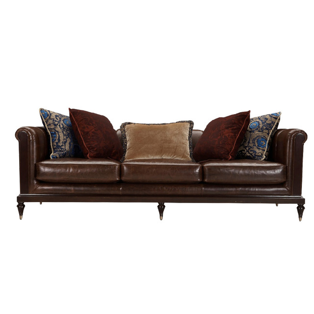 Contemporary 3 Seater Leather Modern Sofa Design Mid Century Modern