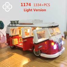 MOC Lepining Speed Mini Champions Cooper Car Playmobil Original 10220 Volkswagen T1 Camper Van Technic Creator Light Blocks Toys