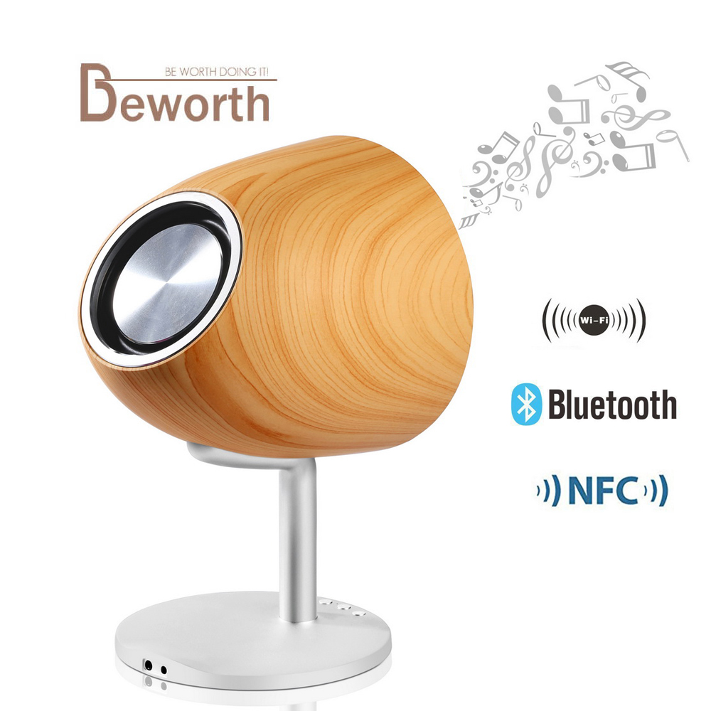 NFC 20W Wireless Bluetooth Speaker Wooden Portable Audio HiFi Home Theatre Sound Stereo Music Subwoofer Interconnected Speakers