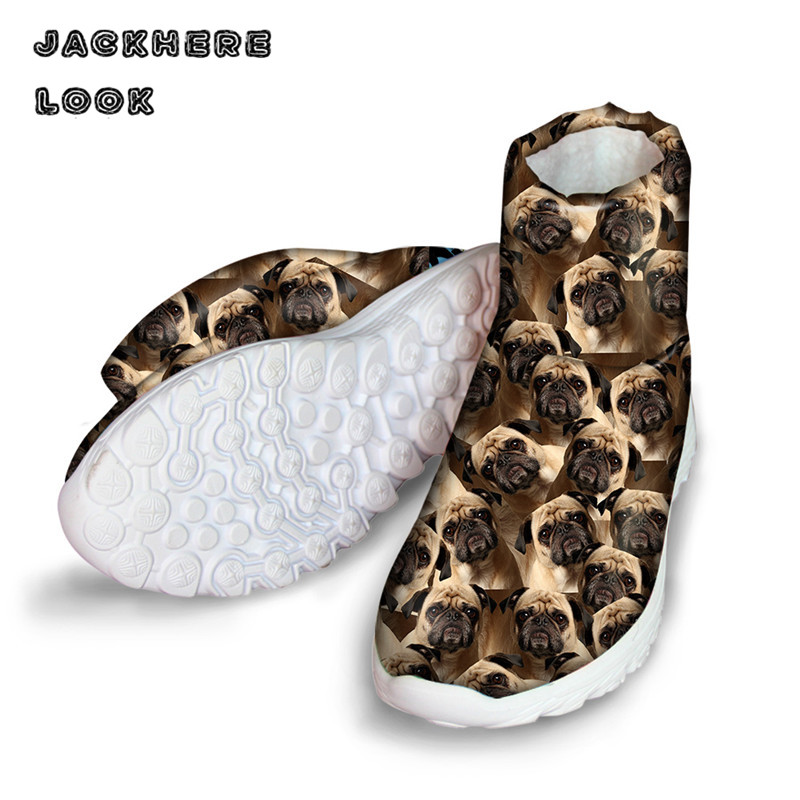 JACKHERELOOK Ankle Women font b Boots b font Cute Pet Dog Printed High Top Shoes for