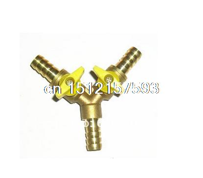 Y Type Equal Hose Barbs Three Forks 10mm Connection Brass Tee Coal Liquid Gas Ball Valve Plumbing Fittings Plastic Handle Water mikado sensual round with barbs hs012b 10bn