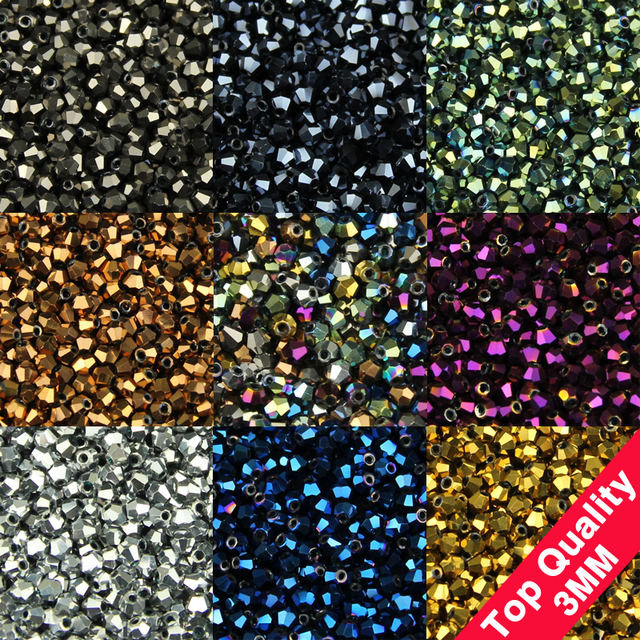 High quality 3mm 200pcs Bicone Austrian crystals loose beads ball supply surface color plating bracelet necklace Jewelry Making