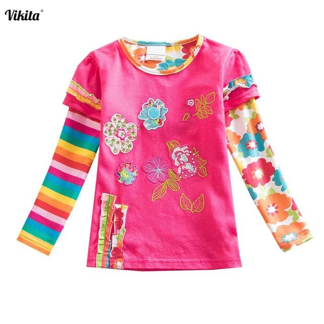 d010147ee VIKITA Children t Shirts Kid Flower t shirt Girls Roupa Infantil ...